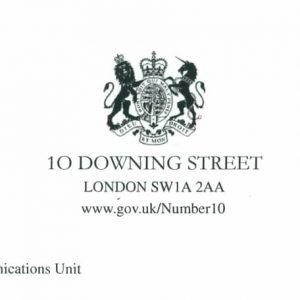 Manor House School Letter from Downing Street